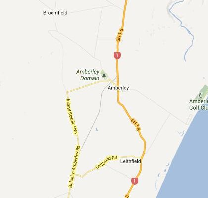 satellite map image of Amberley, New Zealand shows road/location map
