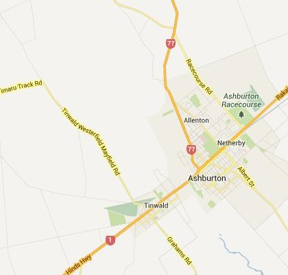 satellite map image of Ashburton, New Zealand shows road/location map