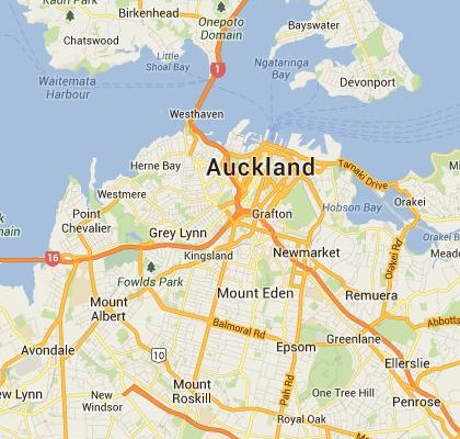 satellite map image of Auckland, New Zealand shows road/location map