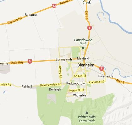 satellite map image of Blenheim, New Zealand shows road/location map