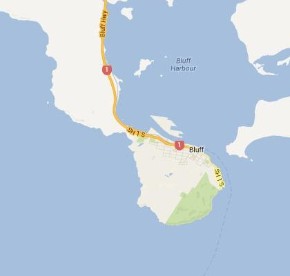 satellite map image of Bluff, New Zealand shows road/location map