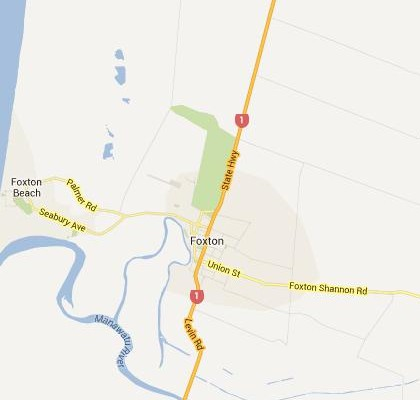 satellite map image of Foxton, New Zealand shows road/location map