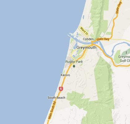 satellite map image of Greymouth, New Zealand shows road/location map