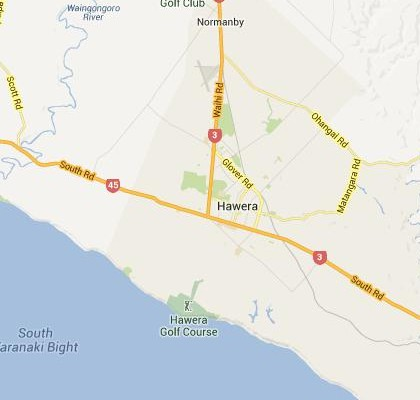 satellite map image of Hawera, New Zealand shows road/location map