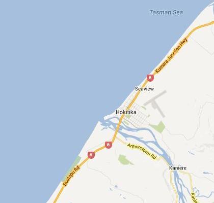 satellite map image of Hokitika, New Zealand shows road/location map