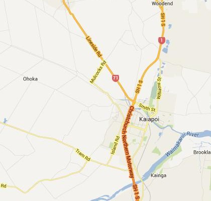 satellite map image of Kaiapoi, New Zealand shows road/location map