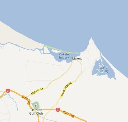 satellite map image of Maketu, New Zealand shows road/location map