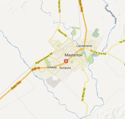 satellite map image of Masterton, New Zealand shows road/location map