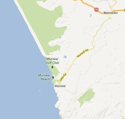 satellite map image of Muriwai Beach, New Zealand shows road/location map