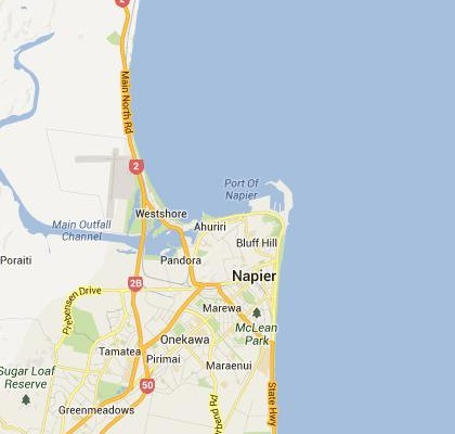 satellite map image of Napier, New Zealand shows road/location map