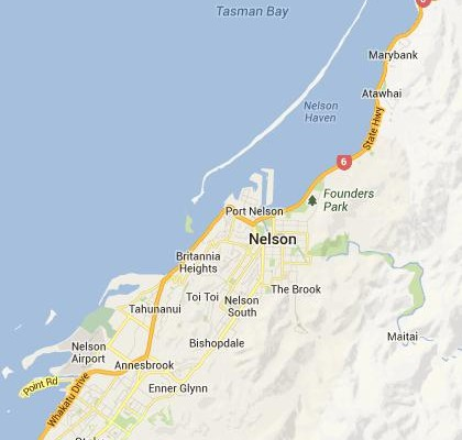 satellite map image of Nelson, New Zealand shows road/location map