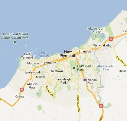 satellite map image of New Plymouth, New Zealand shows road/location map