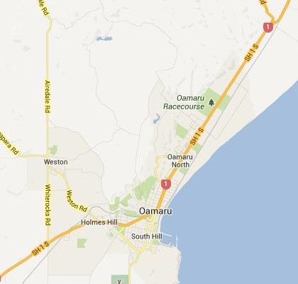 satellite map image of Oamaru, New Zealand shows road/location map