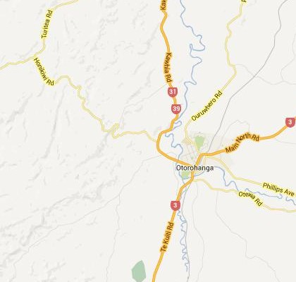 satellite map image of Otorohanga, New Zealand shows road/location map