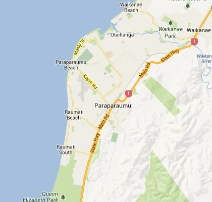 satellite map image of Paraparaumu, New Zealand shows road/location map