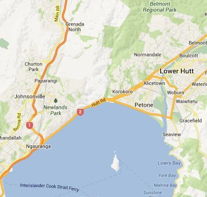 satellite map image of Petone, New Zealand shows road/location map