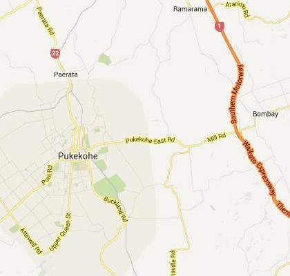 satellite map image of Pukekohe East, New Zealand shows road/location map