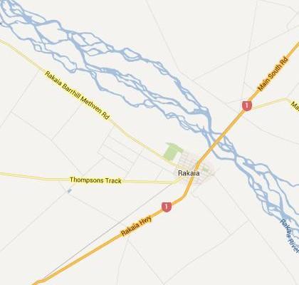 satellite map image of Rakaia, New Zealand shows road/location map