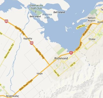 satellite map image of Richmond, New Zealand shows road/location map