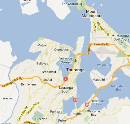 satellite map image of Tauranga, New Zealand shows road/location map