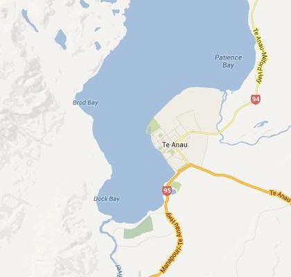 satellite map image of Te Anau, New Zealand shows road/location map