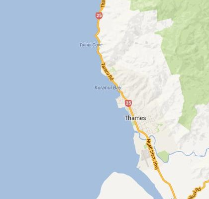 satellite map image of Thames, New Zealand shows road/location map