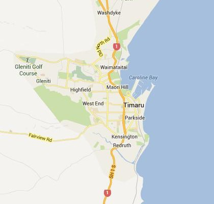 satellite map image of Timaru, New Zealand shows road/location map