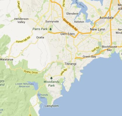 satellite map image of Titirangi, New Zealand shows road/location map
