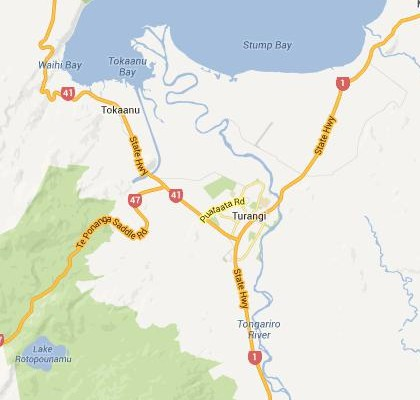 satellite map image of Turangi, New Zealand shows road/location map