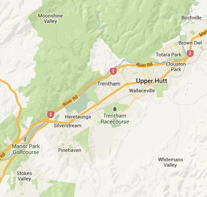 satellite map image of Upper Hutt, New Zealand shows road/location map