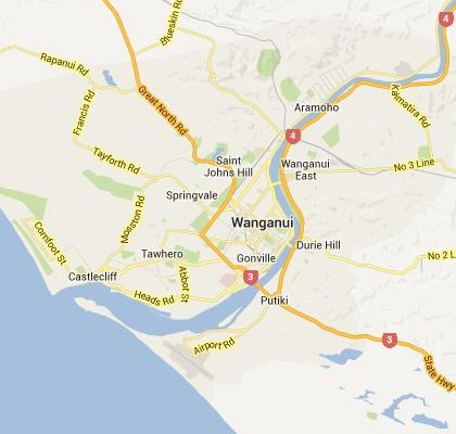 satellite map image of Wanganui, New Zealand shows road/location map