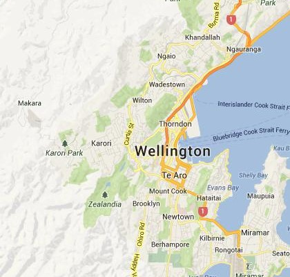 satellite map image of Wellington, New Zealand shows road/location map