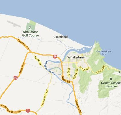 satellite map image of Whakatane, New Zealand shows road/location map