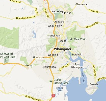 satellite map image of Whangarei, New Zealand shows road/location map