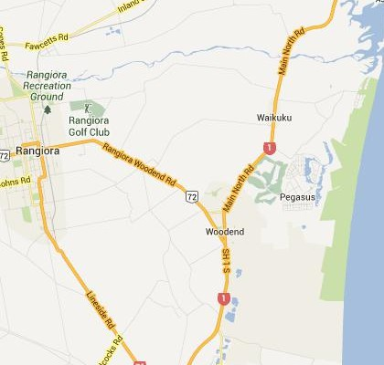 satellite map image of Woodend, New Zealand shows road/location map