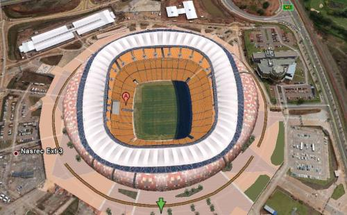 johannesburg Soccer city football stadium in south africa as seen as 3d in google earth, google covers all 10 world cup stadiums in google earth
