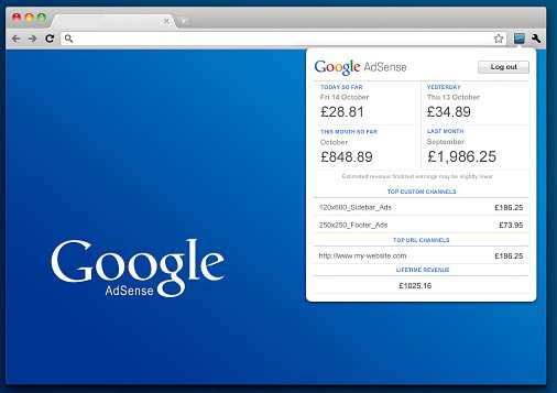 google adsense extension for chrome browser showing adsense earnings summary screenshot