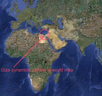 location of giza pyramids in world map