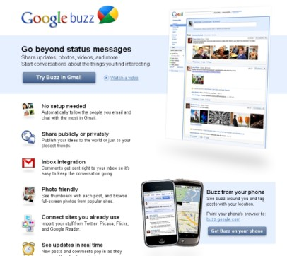 google buzz home page image