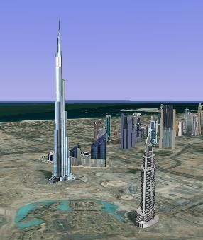google earth image of burj dubai tower