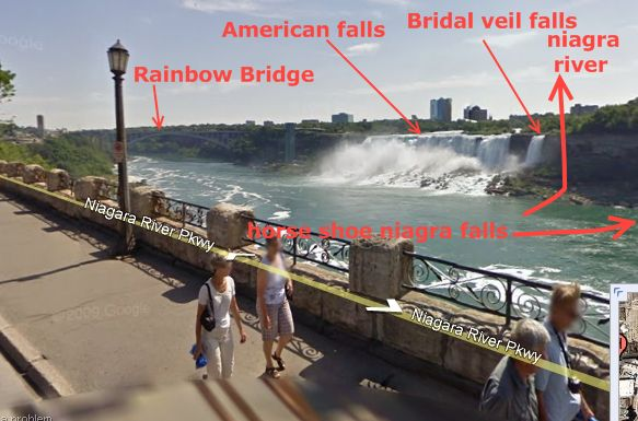 google street view image showing nigra falls (american falls and bridal veil falls), also visible is rainbow bridge across niagra river