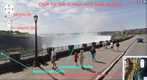 google street view image of niagra falls (horse shoe falls in canada), click to get full screen veiw