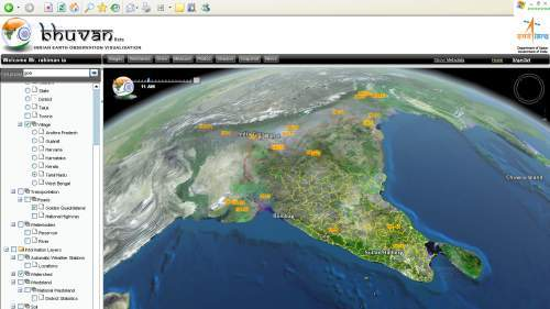 isro bhuvan full screen shot showing 3d view of India from angle