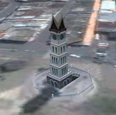 jam gadang big clock tower in Bukittinggi, Indonesia as seen in google earth