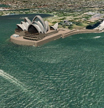 sydney opera house satellite maps seen in 3d within google earth