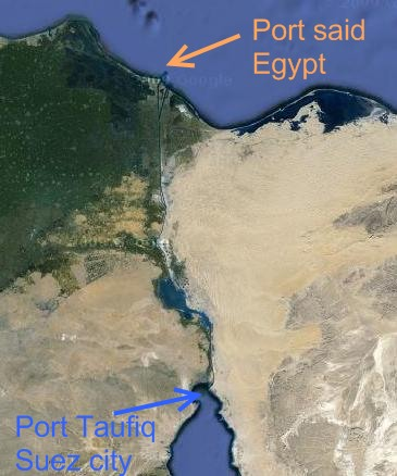 satellite map view of port said, egypt and port taufiq in suez city