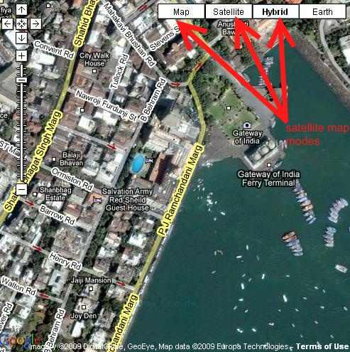 satellite view of gateway of india bombay