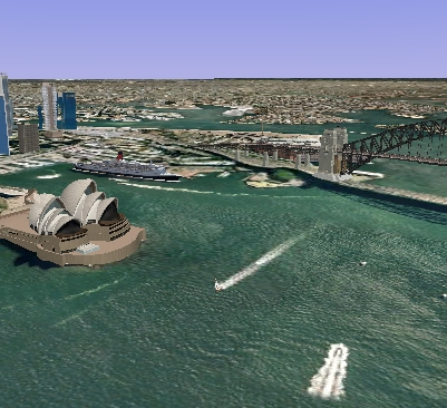 sydney opera house 3d view as seen in google earth