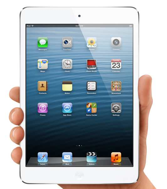 apple ipad mini image showing its palm size