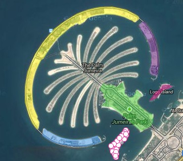 Palm Jumeira marked for area measurement